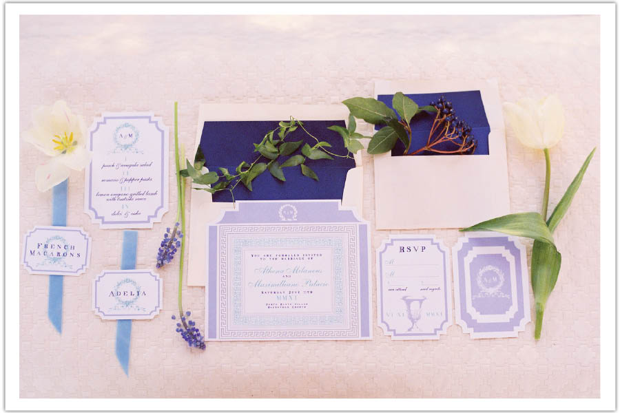 Greek Roman Periwinkle Blue And White Wedding Invitation