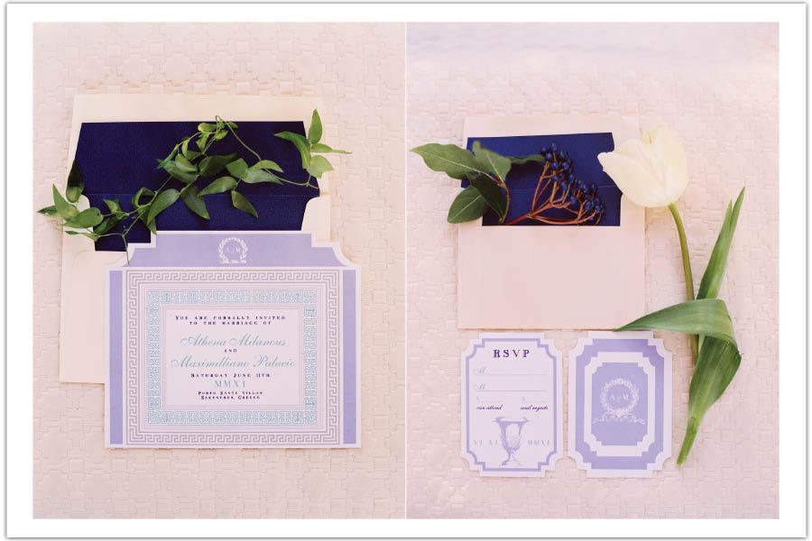 Greek Roman Periwinkle Blue And White Wedding Invitation