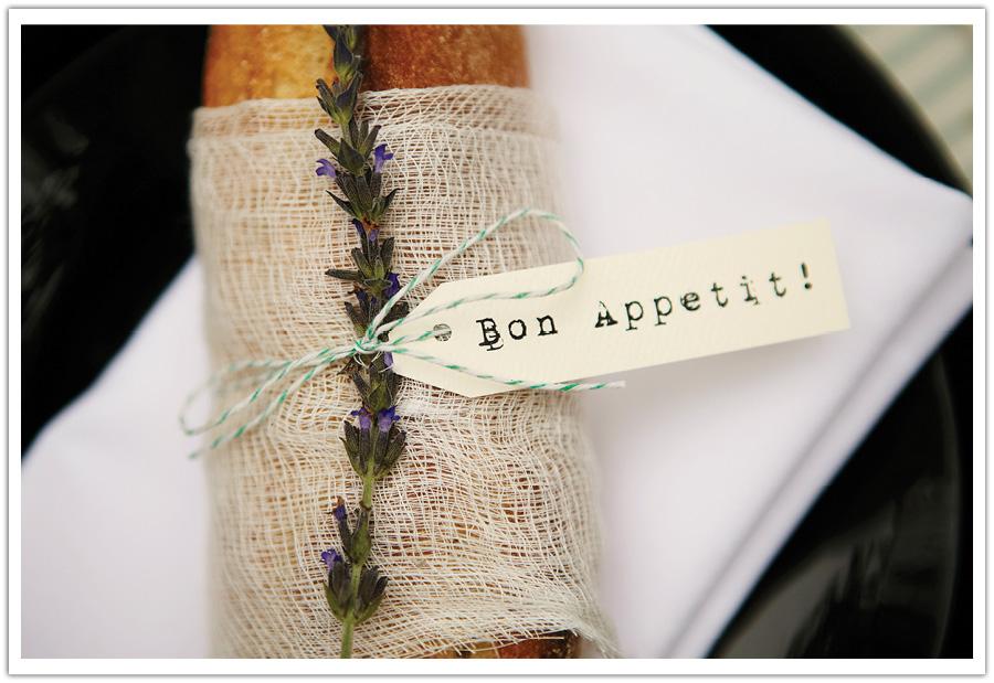 baguette lavender place card