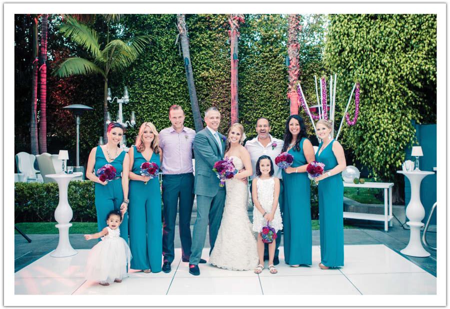 Teal Fuschia Orchid Modern Wedding